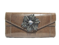 Stunning Taupe Brown 1980's-90's Jeweled Lizard Skin CLUTCH Shoulder Bag