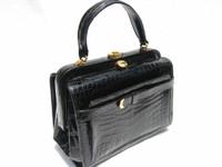 ROSENFELD 1950's-60's BLACK Alligator Skin Doctor Bag Purse