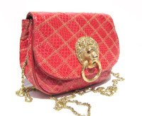 Jeweled RED 1980's QUILTED COBRA Snake Skin Shoulder Bag - LION!