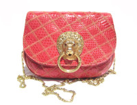 Jeweled RED 1980's QUILTED COBRA Snake Skin Shoulder Bag - LION!