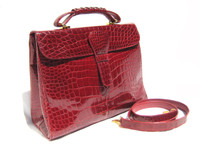 Large 1990's-2000's RED ALLIGATOR Belly Skin Shoulder Bag SATCHEL -Titti Del Acqua - ITALY