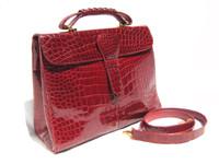 Large 1990's-2000's RED ALLIGATOR Belly Skin Shoulder Bag SATCHEL -Titti Del Acqua - ITALY