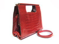 JUDITH LEIBER 1990's Tomato RED Alligator Belly Skin Structured Handbag