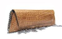 NEW 2000's TAN Alligator Belly Skin CLUTCH Shoulder Bag - LAI!