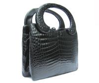 Unique HOLZMAN 1960's Jet Black Alligator Belly Skin Handbag
