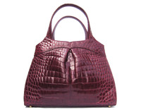 Gorgeous XL OXBLOOD Purple RED 2000's CROCODILE Belly Skin Satchel Handbag