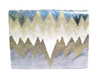 METALLIC Silver, Gold & Cream 1980's Snake Skin Clutch Shoulder Crossbody Bag - ANDREA PFISTER