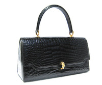 Early 2000's Jet Black ALLIGATOR Belly Skin Handbag