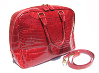 XXL Early 2000's RED Crocodile Belly Skin Handbag Shoulder Bag SATCHEL - SUAREZ