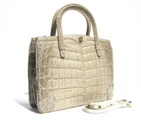 Gorgeous CREAM/BONE Late 1990's CROCODILE Belly Skin Handbag