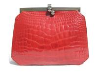 RED 1990's  Alligator Belly Skin Structured Shoulder Bag - JUDITH LEIBER