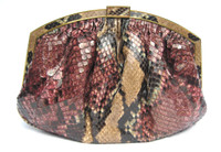 XL 1980's DARK PINK PYTHON Snake Skin Clutch Shoulder CROSS Body Bag - COLOMBETTI