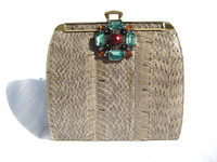 Blue Gray 1980's JEWELED  Cobra Snake Skin Clutch Shoulder Bag - ENGLAND
