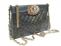 Jeweled Gray 1980's QUILTED COBRA Snake Skin CLUTCH Shoulder Bag