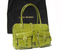 XL LANA MARKS Chartreuse Lime Green Alligator Belly Skin Handbag Shoulder Bag TOTE - ITALY