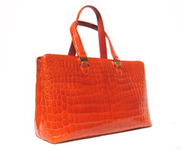 Gorgeous 2000's Bright ORANGE Crocodile Belly Skin Handbag