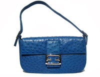 1990's-2000's COBALT BLUE Ostrich Skin SHOULDER Bag -ARTBAG