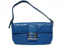 1990's-2000's COBALT BLUE Ostrich Skin SHOULDER Bag -ARTBAG