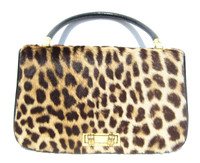 Stunning 1950's-60's GENUINE Spotted Exotic Fur HIDE Handbag Purse