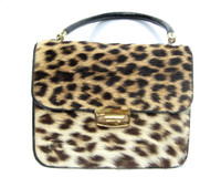 Classic 1950's-60's GENUINE Spotted Exotic Fur HIDE Handbag