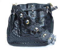1980's Black ALLIGATOR Skin SATCHEL CROSS-BODY Shoulder Bag - Flowered Strap!