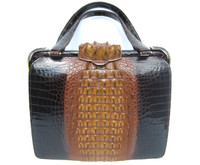 Outstanding HONEY & CARAMEL 1960's Hornback ALLIGATOR Skin Handbag  - Horned Clasp!