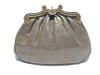 Steel GRAY 1980's KARUNG Snake Skin Clutch Shoulder Bag - ASHNEIL