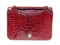 Petite RUBY RED 1950's-60's TURTLE SKIN CLUTCH Bag