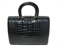 Gorgeous BLACK Hard-Sided 1990's-2000's CROCODILE Skin Handbag