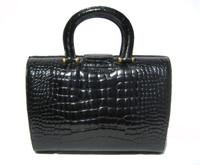 Gorgeous BLACK Hard-Sided 1990's-2000's CROCODILE Skin Handbag