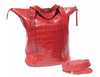 XXL 15 x 14 Early 2000's Red ALLIGATOR BELLY Skin Handbag SHOULDER Bag Bucket Tote