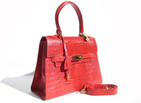 Classic 1990's-2000's Cherry RED Birkin Style LIZARD Skin Handbag
