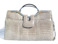 Beautiful GRAY 1990's-2000's CROCODILE Skin Handbag Clutch Shoulder Bag