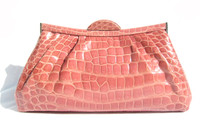 SALMON Pink 1990's-2000's Glossy Crocodile Belly Skin Shoulder Bag CLUTCH - SUAREZ!