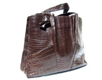 XL Early 2000's Chocolate BROWN Matte ALLIGATOR Belly Skin Handbag Satchel