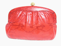 RED 1990's PYTHON Snake Skin Clutch Shoulder Bag - Morris Moskowitz