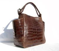 XL Early 2000's Soft BROWN Matte ALLIGATOR Belly Skin Handbag Satchel