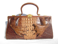"Dramatic 14.5"" Early 1900's Brown Antique Hornback Alligator Handbag w/Paws!"
