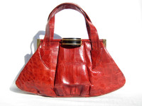 1940's-50's Large RED CROCODILE Skin Clutch Bag w/Bakelite - Argentina