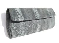 Denim Blue Gray MATTE Early 2000's OSTRICH Leg  CLUTCH Bag w/tags - Klein Karro