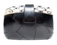 Jeweled BLACK & Cream 1970's FROG & SNAKE SKIN Clutch Shoulder Bag w/ Change Purse!