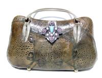 Dark GREEN 1970's GENUINE FROG SKIN Clutch Shoulder Bag w/Removable Brooch