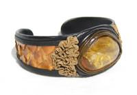 Orange AGATE Stone & Orange PYTHON Snake Skin CUFF Bracelet