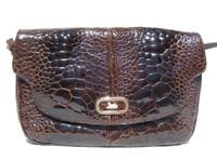 Ample 1950's-60's Chocolate EXOTIC TURTLE SKIN Shoulder Bag - El Corte'