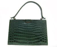 Dark Forest GREEN 1940's ALLIGATOR Skin Handbag