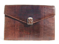 Chic 1950's-60's Chocolate Lizard Skin Clutch Shoulder Bag w/ Hornback Alligator Clasp