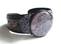 New! Violet Purple AGATE & Genuine PYTHON Snake Skin Leather CUFF