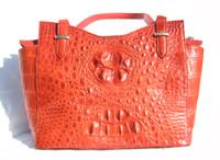 Large Early 2000's Tomato RED Hornback Crocodile Skin Handbag Satchel