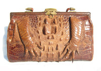 Lovely Early 1900's Caramel & Brown Antique Hornback Alligator Purse w/Paws!