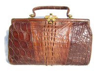 Stunning Edwardian Antique Early 1900's ALLIGATOR Tail Skin Purse